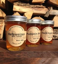 Fall Beer Jelly Set: Pumpkin Ale, Porter, Hard Apple by Potlicker Kitchen. I'll bet these are great with ham