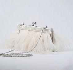 Wedding Purse Bridal Clutch Feather Handbag by PowderBlueBijoux, $99.00