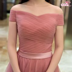 Elegant pink A line off shoulder tulle long prom dress, evening dress - Thumbnail 3