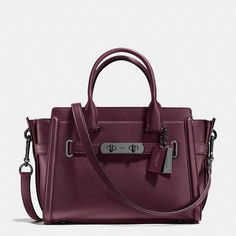 Coach Swagger 27 ($495) ❤ liked on Polyvore featuring bags, handbags, purple leather bag, real leather handbags, purple handbags, leather purses and coach purses