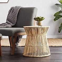 Holly and Martin Ocala Hyacinth Accent Table/Stool, Natural Hyacinth, Beige Scandinavian Dining Chairs, Contemporary Dining Chairs, Modern Chairs, Midcentury Modern, Chair Side Table, Table And Chairs, End Tables, Living Room Stools, Chairs For Sale