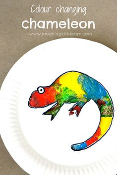 colour changing chameleon using a simple paper plate. Simple activity for kids.