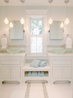 Best Pendant Lighting Bathroom Vanity for Awesome Nuance : White Bathroom With Pendant Lighting Bathroom Vanity Above Amusing Floortile And Nice Vanity Closed Window Between Mirror Above Glass Bowl Sink Near Round Towel Handle