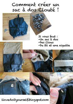 i love do it yourself: DIY un sac à dos Clouté ! DIY studded backpack !