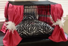 Dog Crate Cover Ensemble in Hot Pink and Zebra( Free Custom Embroidery). $98.00, via Etsy.