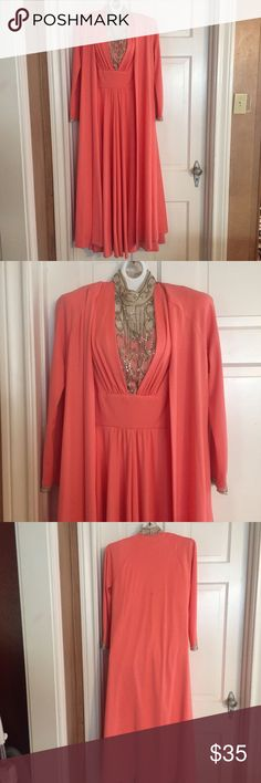 🍁Just like Cleopatra!    Vintage Dress/Jacket S You too can be just like Cleopatra in this beautiful coral polyester vintage gown that is handmade with beautiful bead work. Dress is sleeveless with back zipper and free flowing jacket over. No tags inside. Measurements coming. Floor length. Vintage Dresses Maxi