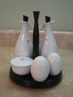 OMC Otagiri Japan VTG CRUET SET Oil/Vinegar/Salt/Pepper ON STAND Ivory Porcelain