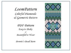 Diamond & Geometric Loom Pattern - Beaded Loom Pattern for Delica or Toho Seed Beads -Tutorial for Bracelet or Bookmark - Easy to Make by BonniesBeadBarnetc on Etsy https://www.etsy.com/uk/listing/259973833/diamond-geometric-loom-pattern-beaded