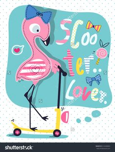 "Cute flamingo girl cartoon on scooter with text ""scooter lover"" on polka dot background illustration vector."