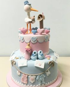 Adorable 2 tier Stork Cake for a Baby Shower Torta Baby Shower, Tortas Baby Shower Niña, Baby Shower Cupcakes, Baby Shower Cakes Neutral, Jednostavne Torte, Beautiful Cakes, Amazing Cakes, Stork Cake, Decoration Buffet