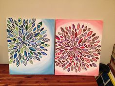 I had first designed these with scrap booking markers. Then I use acrylic paint to redo them with. I love them!