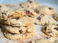Chocolate Chip Peanut Butter Oatmeal Cookies--yes! Crunchy pb, less choc chips, double recipe fills cookie jar