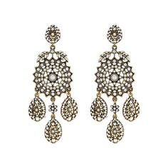FILIGREE + PEARL CHANDELIER EARRINGS on a white background
