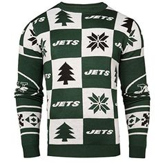 NFL Mens 2016 Patches Ugly Crew Neck Sweater New York Jets -- Click image to review more details.