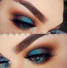 Eye Makeup Tips.Smokey Eye Makeup Tips - For a Catchy and Impressive Look Beautiful Eye Makeup, Pretty Makeup, Love Makeup, Makeup Inspo, Makeup Inspiration, Beauty Makeup, Hair Makeup, Turquoise Eye Makeup, Smokey Eye Makeup