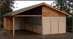 Tack and feed room added on to a traditional shed row.  Might be nice to build as additional stalls where old barn is...