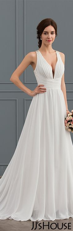 Princess V-neck Chapel Train Chiffon Wedding Dress #JJsHouse #Wedding dresses