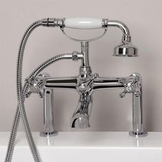 Vera Deck-Mount Tub Faucet and Hand Shower - Chrome