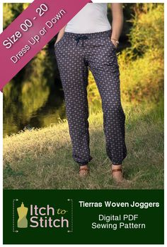 Wear your Tierras Woven Joggers and enjoy a totally cozy day doing your favorite at-home activities. Need to run errands around town? Get to and from the gym? Look no further than these joggers. These tapered, pocketed bottoms are a wise pick for the gal that cherishes chicness and comfort equally. Tierras Woven Joggers Feature:    	Elastic and drawstring waist  	Low rise and can be lengthened to suit your style (instructions included)  	Deep and functional side pockets  	Tapered leg for a…