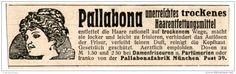 Original-Werbung/ Anzeige 1912 - PALLABONA HAARENTFETTUNGSMITTEL - MÜNCHEN - ca. 90 x 25 mm
