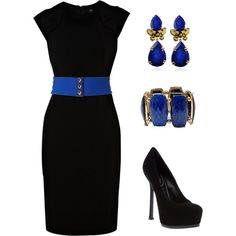 How to take that little black dress and make it pop!!  Love the pops of blue with the accessories!!