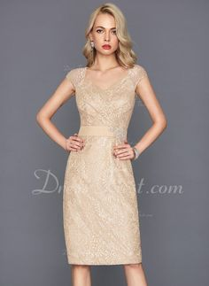 65279c8c07f0   146.99  Sheath Column V-neck Knee-Length Lace Cocktail Dress With Beading  Sequins (016117265)