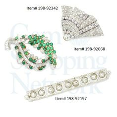Three Estate Jewelry diamond brooches one with emeralds and diamonds the other two with diamonds set in platinum, gold and silver. At Gem Shopping Network we love Estate Jewelry.