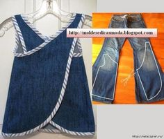 Wonderful Ideas and Tutorials to Refashion Your Old Jeans Upcycle jeans into an art smock or day apron.Upcycle jeans into an art smock or day apron. Diy Clothing, Sewing Clothes, Clothes Crafts, Sewing For Kids, Baby Sewing, Refaçonner Jean, Jean Bag, Baby Outfits, Kids Outfits
