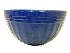 Vintage Very Large Blue Crock Earthenware Bowl by SheLeftUsThis