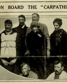 *TITANIC SURVIVORS:  Laura Francatelli, far right, and her employers Lady Lucy Duff-Gordon, 3rd from left, and Sir Cosmo Duff-Gordon, standing directly behind Lady Lucy, on the rescue ship Carpathia.