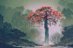 vent arbre: solitaire arbre automne rouge avec la chute des feuilles dans la forêt d'hiver, la peinture de paysage
