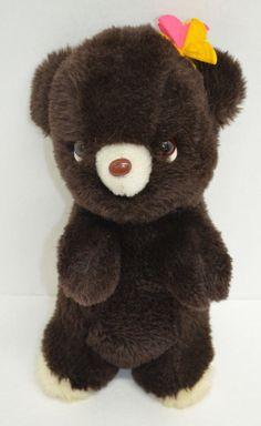 "Vintage Gund Teddy Bear Plush Brown Felt Flowers Stuffed Animal 13"" 1976 Japan #GUND http://stores.ebay.com/Lost-Loves-Toy-Chest/_i.html?image2.x=26&image2.y=14&_nkw=gund"