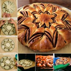 Here's a super cute idea to make a braided nutella star bread for your meals. I always love homemade bread because I like the fresh smell when the hot bread is Nutella Star Bread, Braided Nutella Bread, Nutella Brownies, Comida Diy, Snacks Für Party, Greek Recipes, Food Items, Diy Food, Scones
