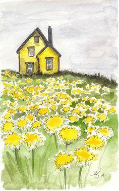 Watercolor Paintings For Beginners, Watercolor Landscape Paintings, Watercolor Drawing, Oil Painting Abstract, Painting & Drawing, Yellow Painting, Watercolor Artists, Painting Lessons, Watercolor Architecture