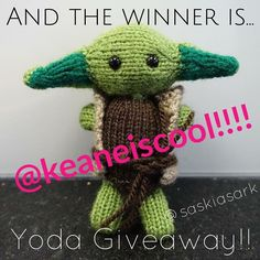 And the winner is..... @keaneiscool !!! Congratulations!! PM me your address and Yoda will be on his way!! Thank you everyone for joining in. #Yoda #giveaway #winner #knitting #knittedtoys #wool #thankyou #winning #starwars #knit #knitstagram