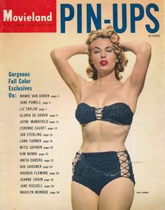 "Anita Ekberg on the cover of ""Movieland Pin-Ups"" magazine, USA, 1955."