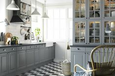 kitchen ikea grey kitchen with extractor hood mounted ceiling above the nyc kitchen design ikea kitchen Grey Cupboards, Ikea Kitchen Cabinets, Kitchen Cabinet Doors, Kitchen Tiles, Kitchen Flooring, Kitchen Decor, White Cabinets, Tile Flooring, Upper Cabinets
