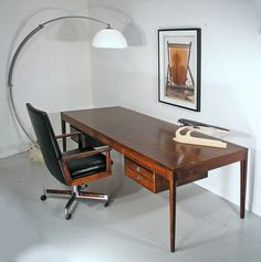 Finn Juhl extra large rosewood Diplomat desk, designed for France and Son, Denmark 1960s