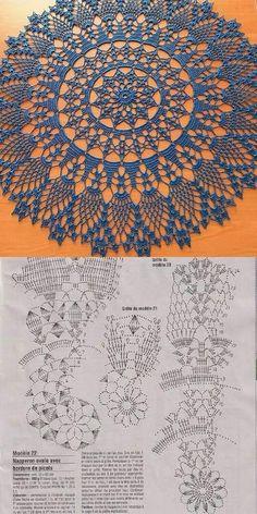Motif Mandala Crochet, Free Crochet Doily Patterns, Crochet Mat, Crochet Doily Diagram, Crochet Dollies, Crochet Circles, Thread Crochet, Crochet Designs, Crochet Stitches