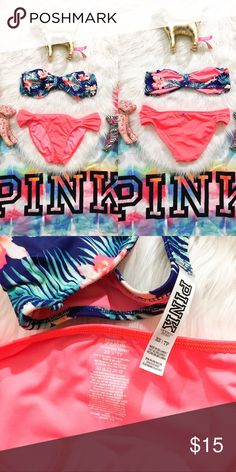 af3218b9cdaec Pink 2 piece Swim Victoria Secret Pink tropical swim top and neon coral  bottom size XSmall