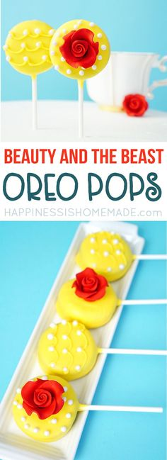 Beauty and the Beast Oreo Pops are the perfect sweet treat to celebrate the new live-action Disney movie premiere, and they're super quick and easy to make! via (oreo cheesecake design) Beauty And Beast Birthday, Beauty And The Beast Theme, Beauty Beast, Diy Beauty And The Beast Party Ideas, Beauty And The Beast Cake Birthdays, Beauty And The Beast Cupcakes, Oreo Pops, Disney Princess Party, Festa Party