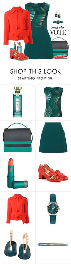 """Rock the Vote in Style"" by lence-59 ❤ liked on Polyvore featuring Bulgari, Issey Miyake, Victoria, Victoria Beckham, Lipstick Queen, Gucci, L'Autre Chose, Henry London, Mattioli, HI-TEC and Royce Leather"