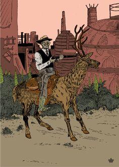 Deer Hunter, Estampe Numérique, Damien MacDonald