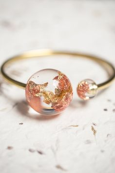 Resin cuff bracelet. Gold flakes. What else could be better?