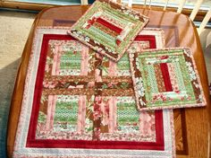 Quilted TABLE TOP and Mug Rugs Hot Pads by AuntiJoJos on Etsy, $31.00