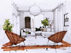Home Decorating Websites Stores Product Interior Architecture Drawing, Interior Design Renderings, Architecture Concept Drawings, Drawing Interior, Interior Rendering, Interior Sketch, Architecture Design, Classical Architecture, Exterior Design