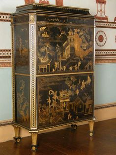 Secretaire attributed to Thomas Chippendale, c. 1773, with Chinese lacquer panels and English japanning. ©National Trust/Christopher Warleigh-Lack