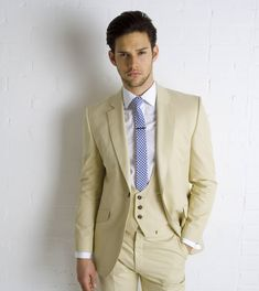 Steve - all i Love is the low scoop waistcoat    - Cotton Tan Suit Low Scoop Wst from Marc Wallace