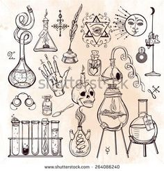 Set of trendy vector Alchemy symbols collection on grunge background Religion, philosophy, spirituality, occultism, chemistry, science, magic Design and tattoo elementsVector illustration - Shutterstock