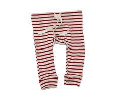 organic cotton drawstring striped leggings - natural/scarlet